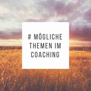 Mögliche Themen im Coaching - Grafik mit Schrift