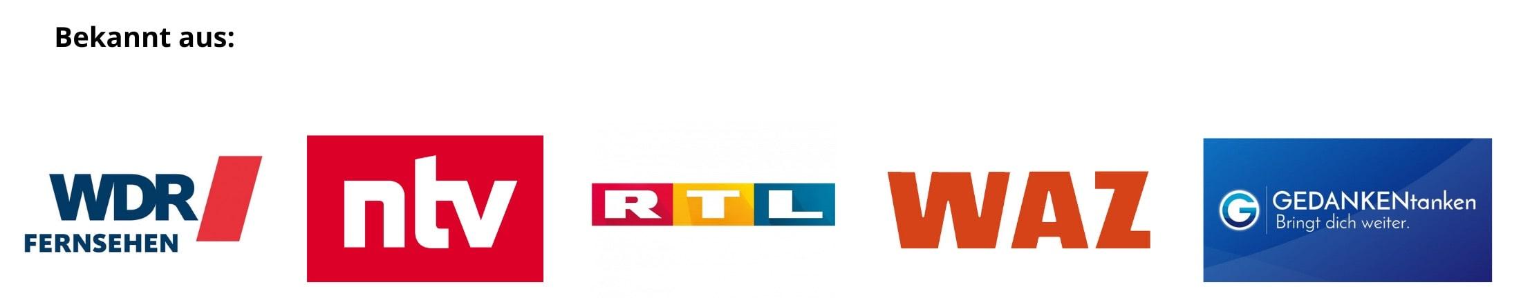 Logo von wdr, ntv, rtl, waz, gedankentanken